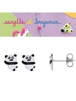 Boucles d'oreilles argent - Panda -  Email NOIR BLANC