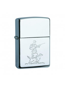 Zippo Chasseur et son chien - High Polish Chrome