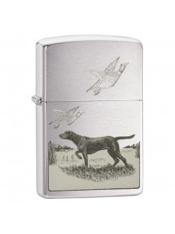 Briquet Pointer Dog and Ducks - Zippo Brushed Chrome