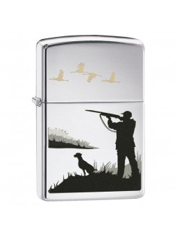 Briquet Pointer Dog and Ducks - Zippo High Polish Chrome