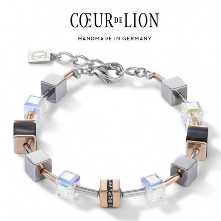 Bracelet GeoCUBE® Acier inoxydable & pavé de cristaux, Cristaux Swarovski® & bande onyx or rose-noir